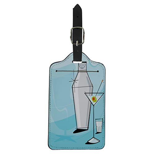Pinbeam Luggage Tag Retro Martini Vignette Shaker and Shot Glass Each Suitcase Baggage Label