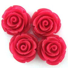 8 20mm Synthetic Coral Carved Rose Flower Pendant Bead Magenta (Coral Flower Carved Rose)