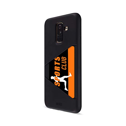 Artwizz TPU Card Case for Samsung Galaxy A6 Plus (2018) - Protective Cover with Card Slot for Membership-Card, ID, Ticket - Matte Back and Glossy Display Frame - Designed in Berlin Germany - Black