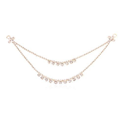 Sparkly Rhinestone Bridal Wedding Drape Tiara Statement Hair Jewelry Pin Set-Head Chain Costume Headpiece Goddess, Egyptian, Indian, Cleopatra, Gatsby, Princess (Layered - Gold)