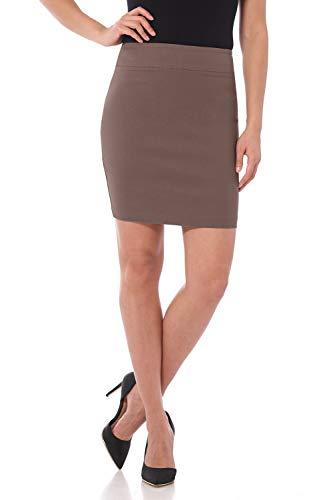 Rekucci Women's Ease Into Comfort Above The Knee Stretch Pencil Skirt 19 inch (Medium,Mocha)