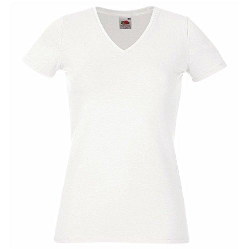 Fruit of the Loom SS055-Camiseta de manga corta con cuello en v para mujer blanco