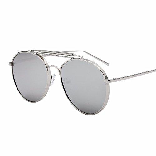 lentes XIAOGEGE Gris de negro redonda color sol frío plana gafas de sol de cara gafas Reflectante UfUrv