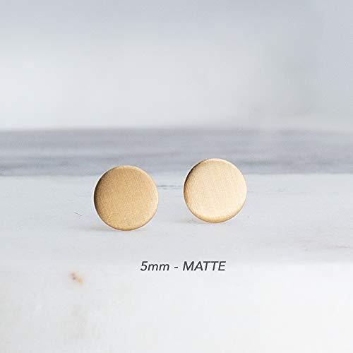 5mm Tiny Minimalist Stud Earrings Flat Disc Gold Filled Earrings, GF-5MM-MATTE