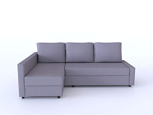 Lindakale Replace Cover for IKEA Friheten Sofa Bed, Chaise on The Right When sit on The Sofa, Sung fit 100% Cotton Sofa Cover (Gray)