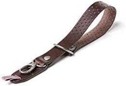 Barber Shop Razor Cut Leather Camera Wrist Strap Dark Brown,