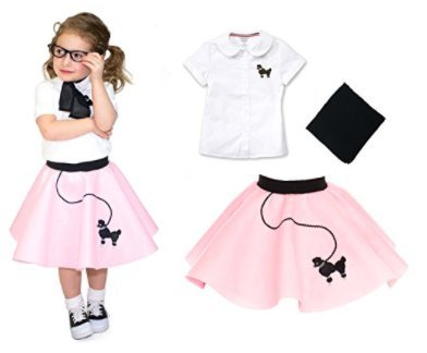 Toddler 3 Piece Poodle Skirt Costume Set Light Pink 3T