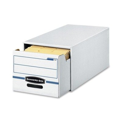 Bankers Boxamp;reg; - Stor/Drawer File Drawer Storage Box, Letter, White/Blue, 6/Carton - Sold As 1 Carton - Stacks two high to save space. (Bankers Storage Box Drawer)