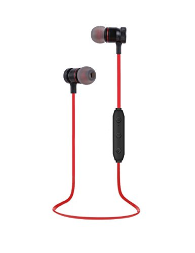 SAN.COMO Bluetooth Headphones,Wireless Earbuds Sweatproof Earphones Magnetic Attraction Stereo Headphones for Running Workout Gym Noise Cancelling (Red)