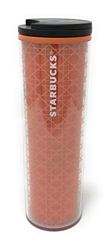 Starbucks 16oz Cold Cup Tumbler Travel Mug Insulated Cold Cup for Fall 2018, Orange and White Gift for Halloween and your favorite Coffee or Pumpkin Spice Latte BPA Free