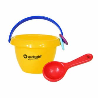 Spielstabil Baby Sand Bucket with Small Scoop & Baby Footprint Mold - Sold Individually Colors Vary (Made in Germany)