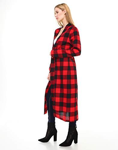 Melody Rosso Donna Plaid Lungo Cardigan Manicotto Maxi Aperto Open Per r7q0rzPx