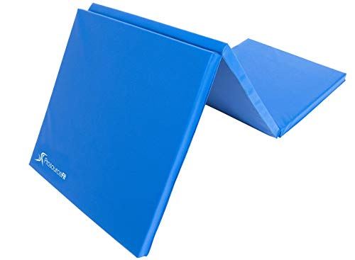 Prosource Fit Tri-Fold Folding Thick Exercise Mat 6'x2' with Carrying Handles for MMA, Gymnastics, Stretching, Core Workouts, Blue (Renewed)