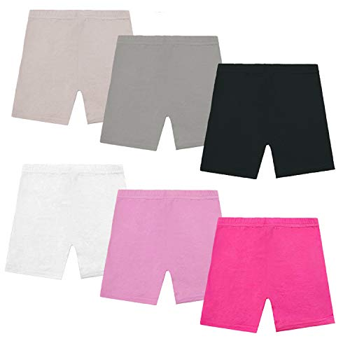 Muhuyi 6 Pcs Colorful Breathable Safety Dance Shorts Bike Short for Girls (6T/7T)