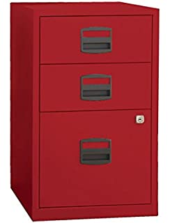 Beau Bisley Three Drawer Steel Home Or Office Filing Cabinet, Cardinal Red  (FILE3 RD