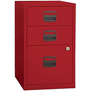 Bisley Three Drawer Steel Home Filing Cabinet, Cardinal Red (FILE3 RD)