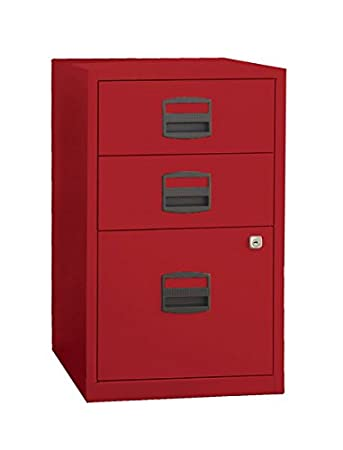 bisley three drawer steel home filing cabinet cardinal red file3rd