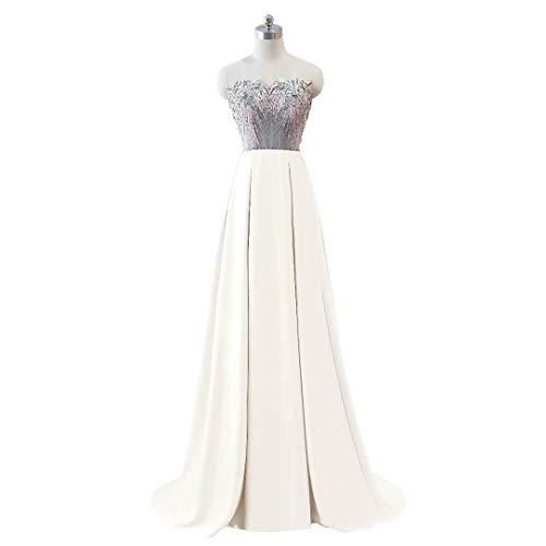 Ausschnitt Abendkleid Party Formale Lange Mermaid Weiß V Kleider Doppel Frauen xqtY0wx