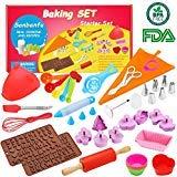 Kids Cooking Baking set Baking supplies Cupcake decorating kit-40 pcs include Silicone Chocolate Molds,Cupcake cups,Cake decorating kit,Cookie Cutters,Measuring Spoons,Rolling Pin,Spatula,Whisk by SANBANFU (Image #1)
