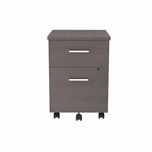 Linea Italia - locking 2 Drawer Metal File Pedestal, Ash, Office File Cabinet on Wheels, Under Desk 24