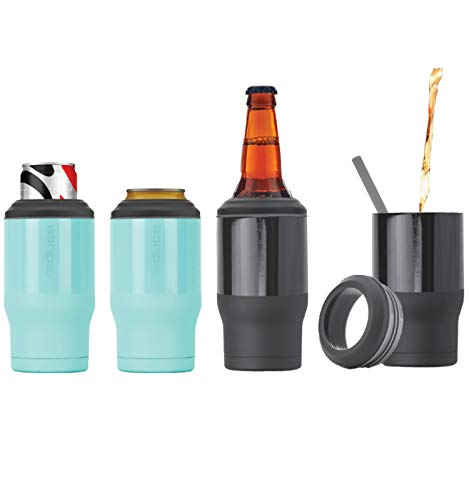 (REDUCE Cold-1 Bottle/Can Cooler, 4 Pack - This Can Beverage Cooler Keeps Skinny Cans & Beer Bottles Ice Cold, Ideal For Warm Days - Double Wall Vacuum Insulated Holder Is Sweat-Free - Mint & Gray)
