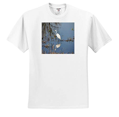 (3dRose Dreamscapes by Leslie - Birds - Egret Reflection - Youth T-Shirt XS(2-4) (ts_314249_11) White)