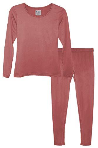 Microfleece Long Underwear - 9M Women's Ultra-Soft Fleece Lined Thermal Base Layer Top & Bottom Underwear Set, Dark Pink, Medium