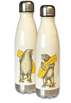 I Love California Bear Hug Stainless Steel Water Bottle - Antique White