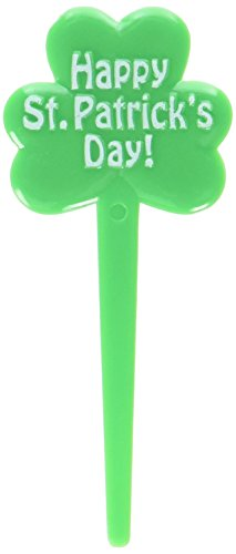 Lucky Irish Green Saint Patrick's Day Shamrock Picks Party Favour, Plastic, 3