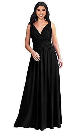 KOH KOH Plus Size Womens Long Sleeveless Flowy Bridesmaids Cocktail Party Evening Formal Sexy Summer Wedding Guest Ball Prom Gown Gowns Maxi Dress Dresses, Black 2XL 18-20