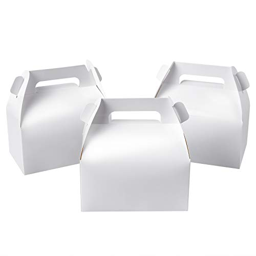 25-Pack Gable White Candy Treat Boxes,Small Goodie Gift Boxes for Wedding and Birthday Party Favors 6.2 x 3.5 x 3.5 inch
