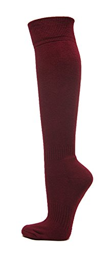 Couver Premium Quality Youth/Kids Knee High Cotton Softball, Baseball, Multi-Sports Socks(Maroon, Youth Medium)
