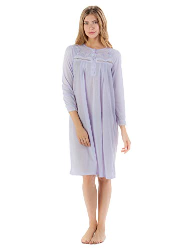 Casual Nights Women's Long Sleeve Pointelle Embroidered Night Gown - Purple - 4X