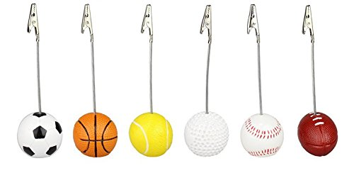 (URToys 6Pcs Golf Rugby Football Baseball Design Alligator Wire Recipe Desk Card Note Picture Memo Clip Holder Resin Craft Home Decoration Desk Small Clamps Stand for Office Supplies)
