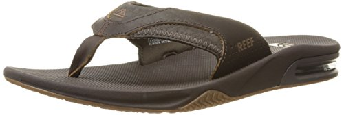 Reef Men's Leather Fanning Sandal, Brown, 13 M US