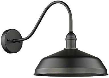 Gia 1 Large Indoor Outdoor Gooseneck Barn Light Matte Black Finish 20 H X 15 5 W X 15 5 D 1xe27 Base 7 70067 Amazon Com