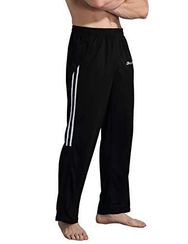 Duuluup Workout Pants Men - Quick Dry Active Sports Sweatpants Open-Hem with Pockets (Black with Pocket&Stripe, L)