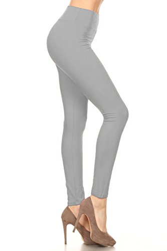 - Leggings Mania Women's Solid Colored Leggings with Wide Yoga Waistband Grey