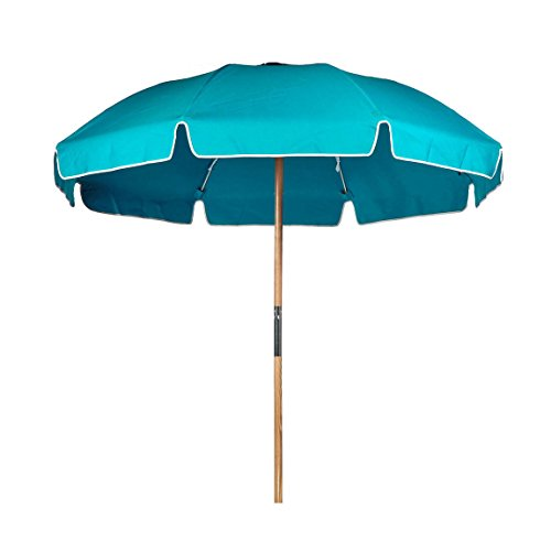 7.5' Acrylic Fiberglass Beach Umbrella with Vent / Valance / Bag FF Color: Turquoise