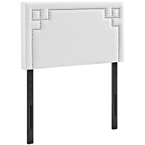 Modway Josie Faux Leather Upholstered Twin Headboard in White with Nailhead Accents (Headboard Leather Nailhead)
