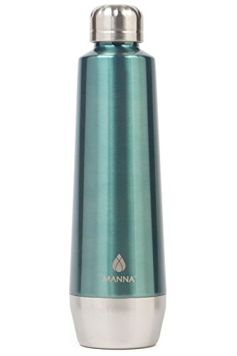 Manna Moda Metallic Stainless Steel Double Walled Vacuum Insulated 18 oz Water Bottle | No Sweat | BPA Free | Keeps Drinks Hot 12 Hours & Cold 24 Hours | - Cat Glasses Old Fashioned Eye