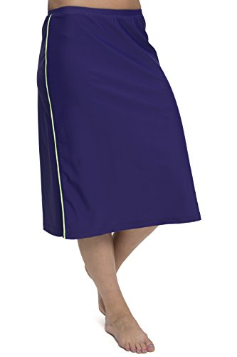 HydroChic Plus Size Long Water Skirt With Hidden Shorts 2X Indigo/Spring Green by HydroChic