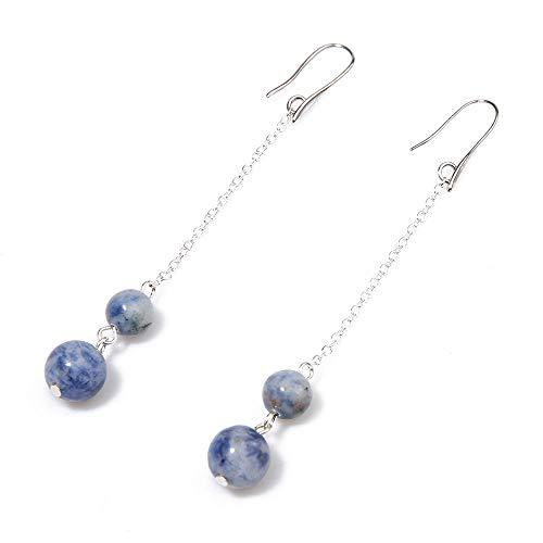 - BALIBALI Handmade Natural Gemstone Dangle Earrings Long Chain Fashion Semi Precious Stone Jewelry Beaded Ball Earrings for Women