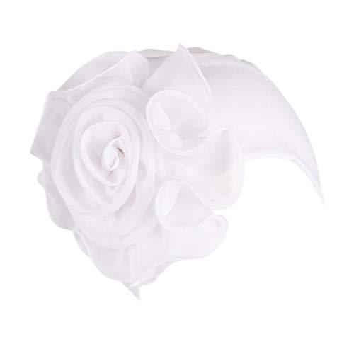 Women Ladies Retro Big Flowers Hat Turban Brim Hat Cap (White)