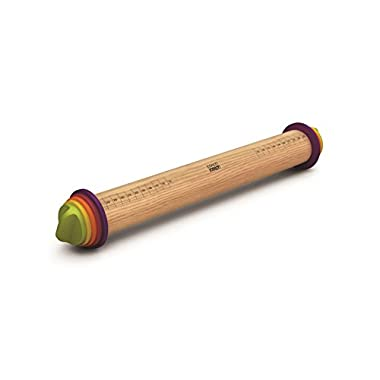 Joseph Joseph 20085 Adjustable Rolling Pin Removable Rings Beech Wood Classic for Baking Dough Pizza Pie Cookies, Multicolored