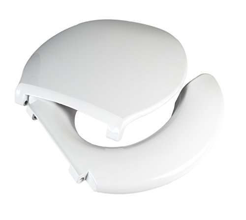 Big John 3-W Oversized Open Front Toilet Seat with Cover and Stainless Steel Hinges – For Round Or Elongated Toilet Bowls – Weight Capacity 1,200 Pounds – White (Plus Round Toilet)