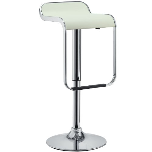 Wholesale Interiors Steel Bar Stool - Modway LEM Piston Style Vinyl Bar Stool in White