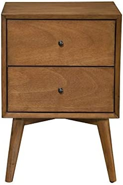 Alpine Furniture Flynn Mid Century Modern 2 Drawer Nightstand, 15 L x 18 W x 26 H, Acorn