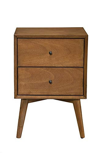 Alpine Furniture Flynn Mid Century Modern 2 Drawer Nightstand, 15 L x 18 W x 26 H, Acorn