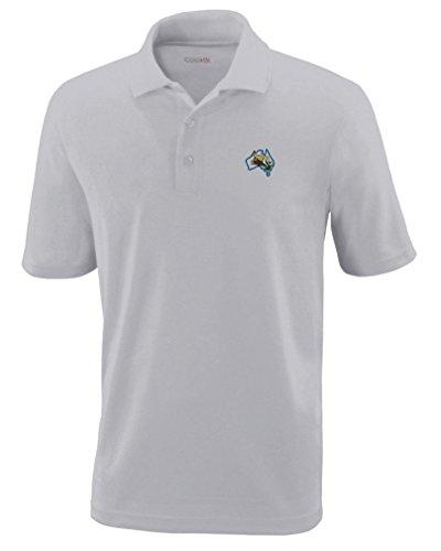 Australia & Kangaroo Embroidery Design Polyester Performance Polo Shirt Platinum - Polo Australia